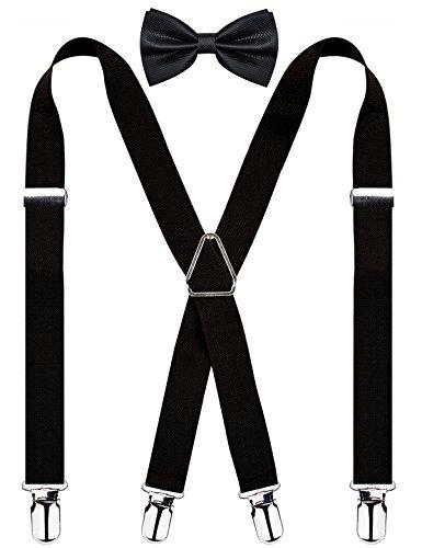 Men's X Back Suspender and Bow Tie Set Elastic Adjustable Braces, Black]()