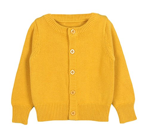 Taiycyxgan Baby Girls Boys Knits Cardigan Sweater Crew Neck Button-down Sweater Jacket Solid Ginger 80