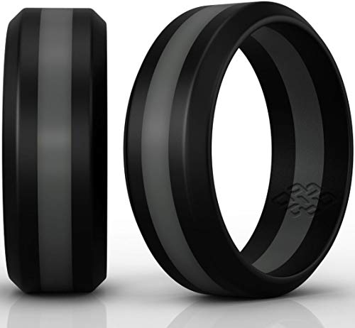 Silicone Wedding Ring Grey Stripe Black Band: Size 11 Superior Rubber Rings - Premium Quality, Style, Safety, Comfort - Ideal Bands for Gym, Safe for Work, Hunting, Sports, and Travels]()