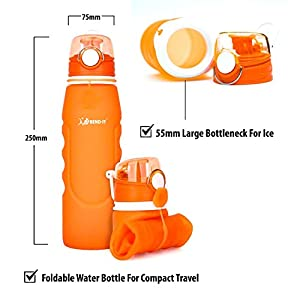 Foldable Collapsible Orange Water Bottle - Gifts For Young Women, Water Bottle For Girls, Water Sports Bottle, Golf, Gym, Volleyball, Soccer, BPA Free Lightweight 26 Ounce BPA Free Water Bottle Set