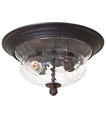 Minka Lavery 8769-166 2 Light Flush Mount in Corona Bronze Finish w/Clear Hammered Glass