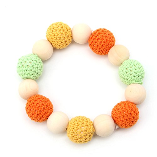 Kocome Baby Wooden Crochet Nursing Toy Teething Bead Colorful Bracelet Hand Made (6)