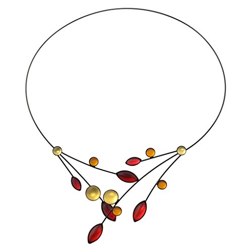 Czech Leaf Light - Kristina Collection Leaves and Circles Choker Necklace, Red and Yellow Czech Glass on Black Memory Wire