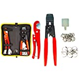 """KOTTO Pex Crimping Clamp Cinch Tool and Pipe Hose Cutter Meets ASTM 2098, Pipe Fitting Tool Kit for Stainless Steel Clamps Sizes from 3/8"""" to 1"""" with 20pcs 1/2"""", 10 pcs 3/4"""" Clamps with Storage Bag"""