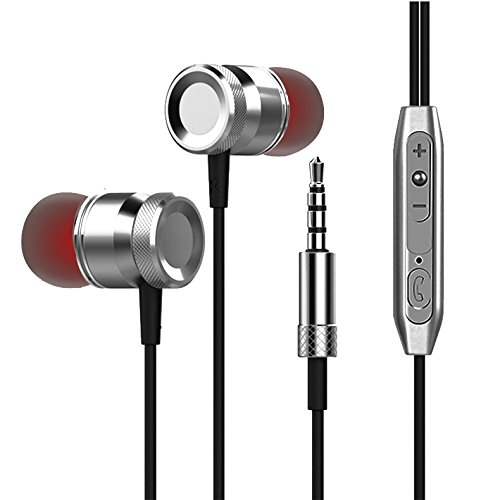 Metal Wired Headphones with Mic and Volume Control,Black M