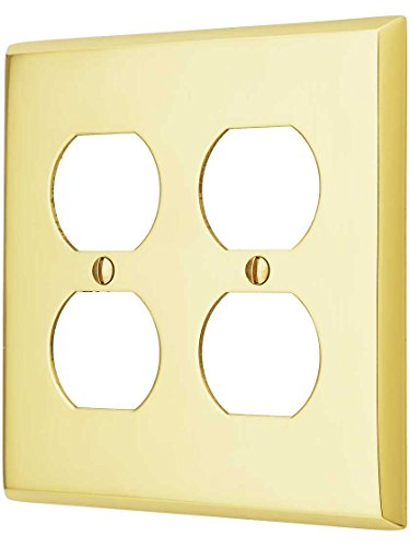 Double Duplex Solid Brass Switchplate - Traditional Forged Brass Double Gang Duplex Cover Plate In Polished Brass Finish