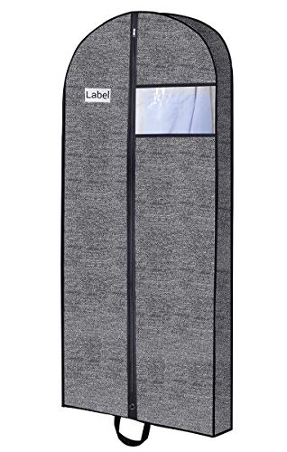 "Homyfort Garment Suit Bags for Travel, 60""x26""x5"" Gusseted Moth Proof Breathable Storage Bag,Easily Carrying with Strong Zipper,Metal Eyehole and Handles for Dresses, Clothes,Grey with Black Pattern"