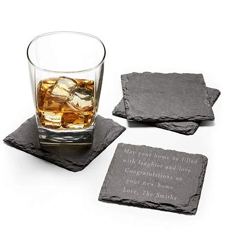GiftTree Personalized Drink Coasters With Custom Message | Beautiful Set of 4 Slate Beverage Coasters | Free Customization and Engraving| Christmas, Wedding, Father's Day, House Warming, Birthday Gift ()