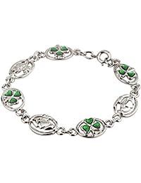 Claddagh & Shamrock Bracelet Rhodium Plating & Enamel Irish Made