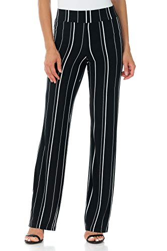 (Rekucci Travel in Style - Women's Classic Straight Leg Pant (XX-Large,Black/Ivory Wide Stripe))