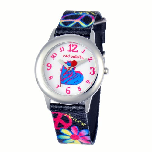 Watch Cavaliers Heart (Red Balloon Kids' W000339 Peace Love and Happiness Tween Stainless Steel Printed Strap Watch)
