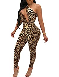 Women's Sleeveless Cut Out Skinny Long Pants Jumpsuits Rompers Clubwear Leopard Print
