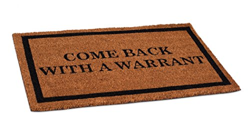 State Park Entrance - BirdRock Home Come Back with a Warrant Coir Doormat | 18 x 30 Inch | Standard Welcome Mat with Black Border and Natural Fade | Vinyl Backed | Outdoor
