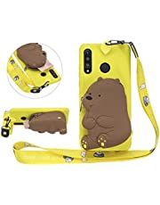 Solid Color Matte Silicone Case for Huawei P30 Lite with 3D Bear Zipper Wallet and Lanyard Strap, DasKAn Cute Cartoon Animal Design Soft Shockproof Protective Cover,Yellow
