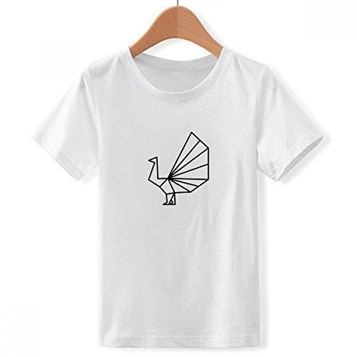 DIYthinker Abstract Origami Peacock Geometric Shape Crew Neck White Children T-Shirt Short Sleeve Sports (Origami Peacock)
