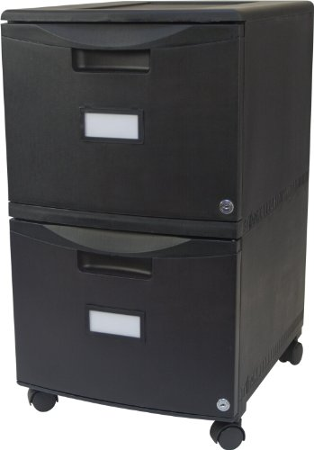 Storex 18-Inch Wheeled Two-Drawer Locking Filing Cabinet, Black (61309) by Storex