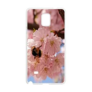 Pink Cherry Flowers Spring Samsung Galaxy Note 4 Cases, Vety {White}
