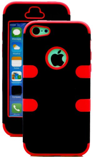 myLife Laser Red + Black Style 3 Layer (Hybrid Flex Gel) Grip Case for New Apple iPhone 5C Touch Phone (External 2 Piece Full Body Defender Armor Rubberized Shell + Internal Gel Fit Silicone Flex Protector)