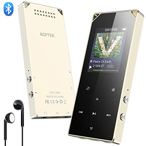 MP3 Player, AGPTEK Bluetooth MP3 Player with Speaker, FM Radio, Line-in Recording, 8GB Metal Touch Button Music Player with 2 Headphone Jacks, 128GB Expanding, X05T for Sport