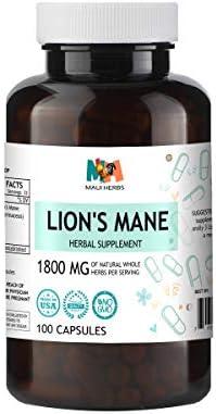 Maui Herbs Lion s Mane 100 Capsules, Organic Lion s Mane Mushroom Hericium erinaceus