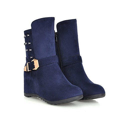 AmoonyFashion Womens Low Top Solid Zipper Round Closed Toe Kitten Heels Boots Blue Cqh60