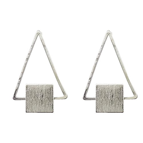 Art Deco Stud - SELOVO Metal Triangle Art Deco Stud Earrings Funky Jewelry Silver Tone