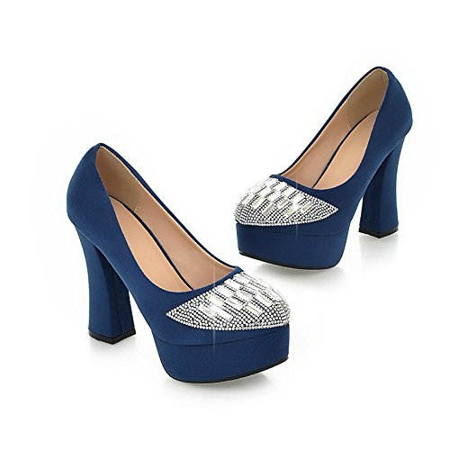 Vouge001 Womans Closed Toe Round Toe High Heel PU Frosted Solid Pumps with Rhinestones, Blue, 3.5 UK