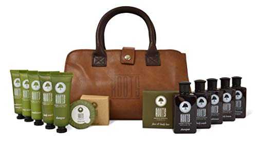 Roots Aromatherapy Amenity Kit (Eucalyptus Tea fragrance) for Travel, Hotels, Motels, Lodging, and Bed and Breakfast (LEATHER-LIKE BAG)