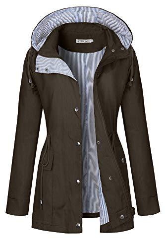 BBX Lephsnt Raincoat Women Waterproof Long Hooded Trench Coats Lined Windbreaker Travel Jacket Dark Brown
