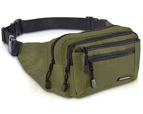 VAN BEEKEN Fanny Pack for Men Women Belt Bag Waist Bag Hip Bag I Waterproof Bum Bag I Supreme Waist Pack Phanny Pack for Hiking Travel Running, Army