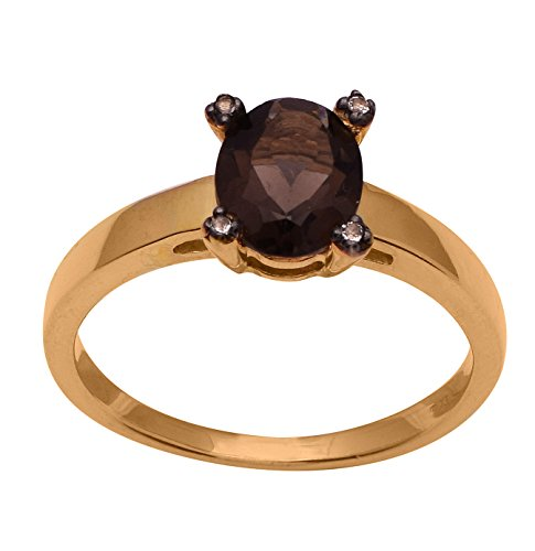 Smoky Quartz Cubic Zirconia Ring - 6