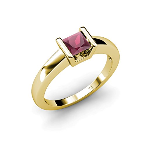 Rhodolite Garnet Princess Cut Channel Set Solitaire Ring 1.05 ct in 14K Yellow Gold.size 5.5