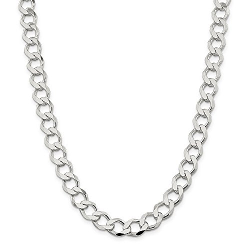 Sterling Silver 10.8mm Polished Flat Curb Chain Bracelet - 9 Inch by JewelryWeb