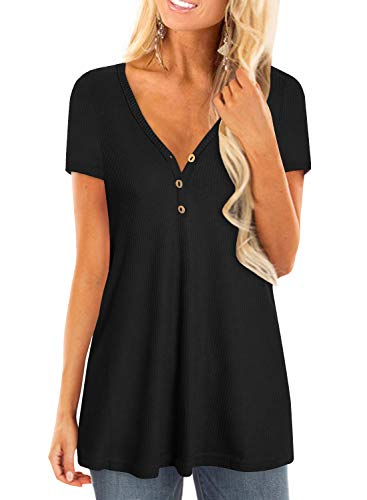- Womens Waffle Knit Short Sleeve Henley Shirts Tunic Loose Fit Plain Blouse Tops(M-3XL)