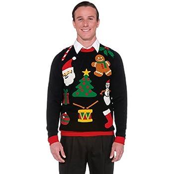 Forum Novelties Men's Plus Size Everything Novelty Christmas Sweater, Multi, X-Large