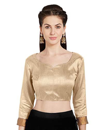Women's Beige Art Silk Readymade Blouse Choli Mirchi Fashion Top