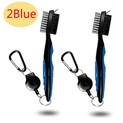 Price comparison product image Golf Club Brush and Groove Cleaner with Retractable Clip,  Extends 2 ft Brass,  Ergonomic Design,  Easily Attaches to Golf Bag,  Nylon and Spike Cleaning Tool (Blue) (2Blue)