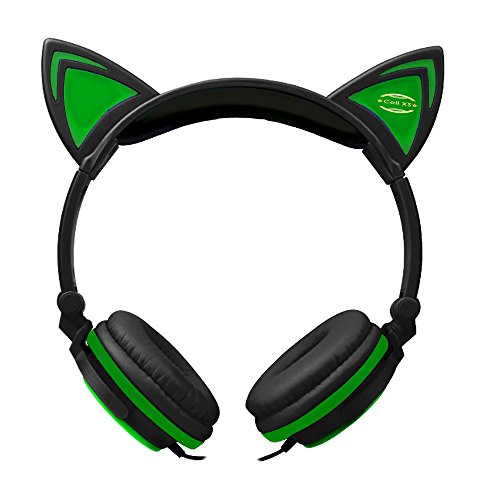 Cat Ears Headphones with Glowing LED Lights for Windows Mac PCs, Laptops, iPhone 7 Plus and more(Black)