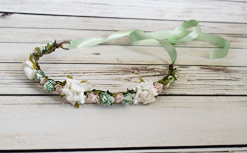 Handcrafted Mint White and Pastel Pink Flower Crown - Woodland Halo - Flower Girl Crown - Wedding Accessory - Spring Headband - Rose Bows