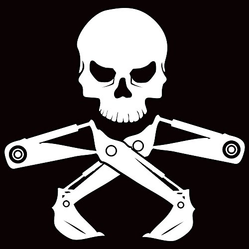 """DecalDestination Construction Heavy Equipment Skull Decal Truck Decal Window Vinyl Car Decal White Large 10"""""""