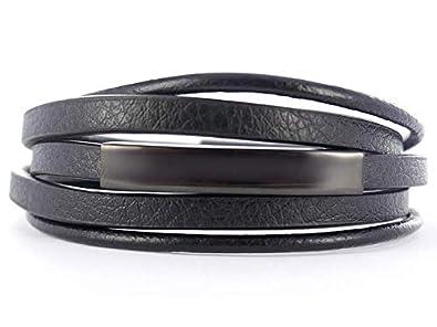 Emotional Bracelet Homme Personnalisable en Cuir Noir avec Plaque gravée ,  Gourmette Personnalisable idéale pour Bracelet prenom [Bijoux Homme]  (Plaque