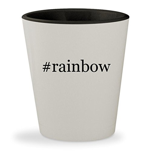 #rainbow - Hashtag White Outer & Black Inner Ceramic 1.5oz Shot - Las Reading Vegas Glasses
