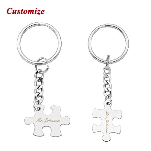 PiercingJ 2PCS Personalized Custom Engraved Couple Necklaces Couple Keychain Matching Puzzle Dog Tag Pendant His and Hers Necklace Key Ring for Him Her + Gift Box