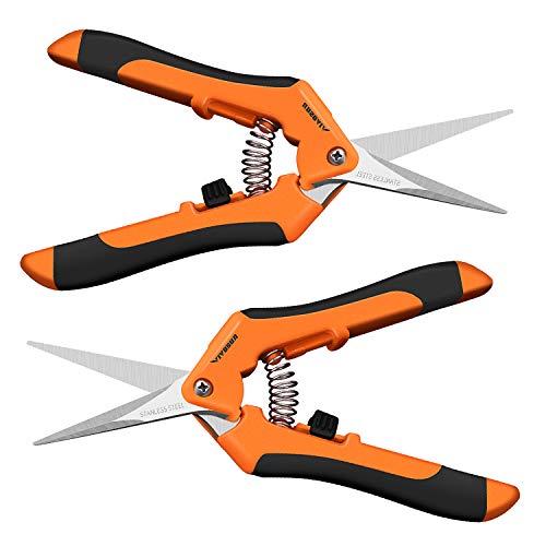 VIVOSUN Gardening Hand Pruner Pruning Shear with Straight Stailess Steel Blades (2Pack Orange) by VIVOSUN