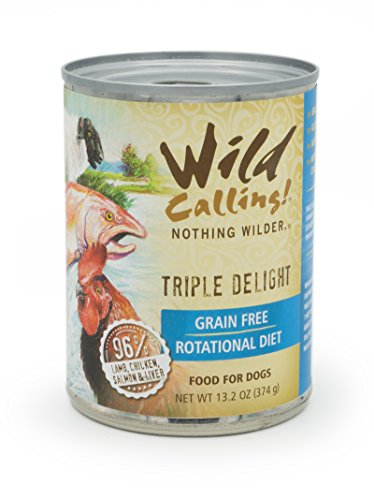 Wild Calling! Natural Flavor, Wet Canned Dog Pet Food - Grain and Gluten-Free - 12 x 13 Ounce (Lamb, Salmon, Chicken)