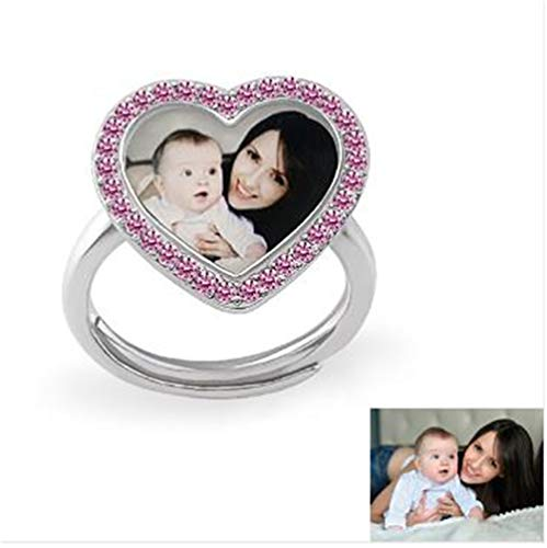 ZHJ8 Personalized Heart Custom Photo Polished Color Engraved Ring (Silver-Plated-Base,3)