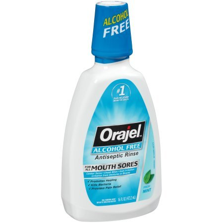 - Orajel Alcohol-Free Antiseptic Mouth Sore Rinse, 16 Fluid Oz (Pack of 6)