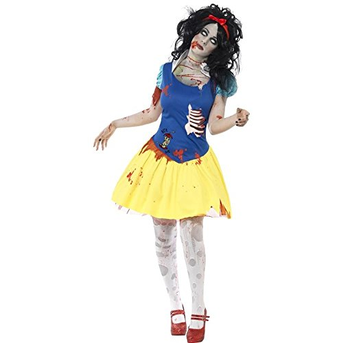 Smiffys Women's Zombie Snow Fright Costume, Dress with Latex Chest and Headband, Zombie Alley, Halloween, Size 14-16, 23352