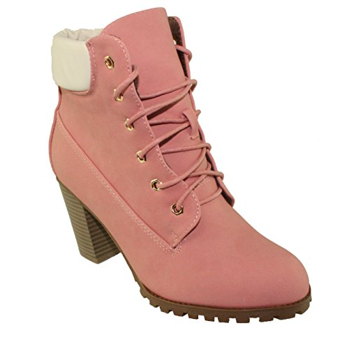BellaMarie Womens Cici-10 Lace up Chunky Heel Ankle Boots Pink Reeub