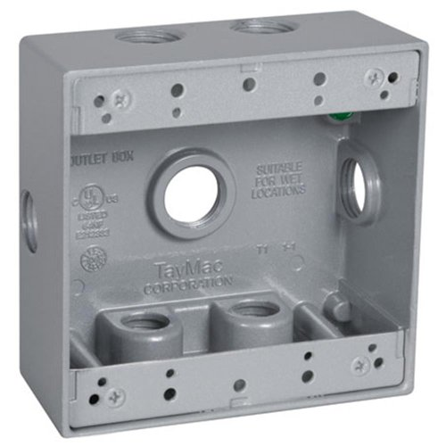 TayMac DB750XS 4-1/2-Inch X 4-1/2-Inch Gang 2-Inch Deep Weatherproof Box, 1/2-Inch Outlets, Side Lug, Gray ()